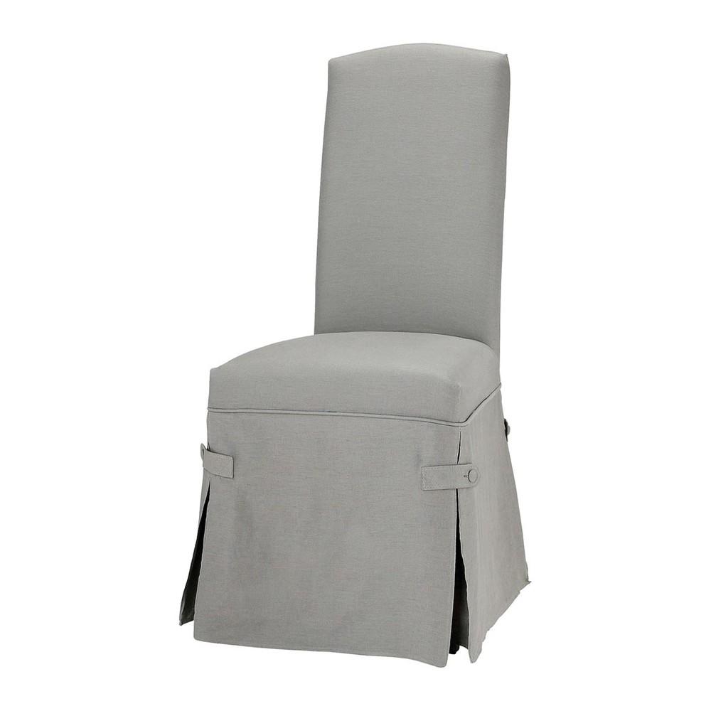 Housse de chaise lin gris clair alice maisons du monde for Housse de chaise ecru