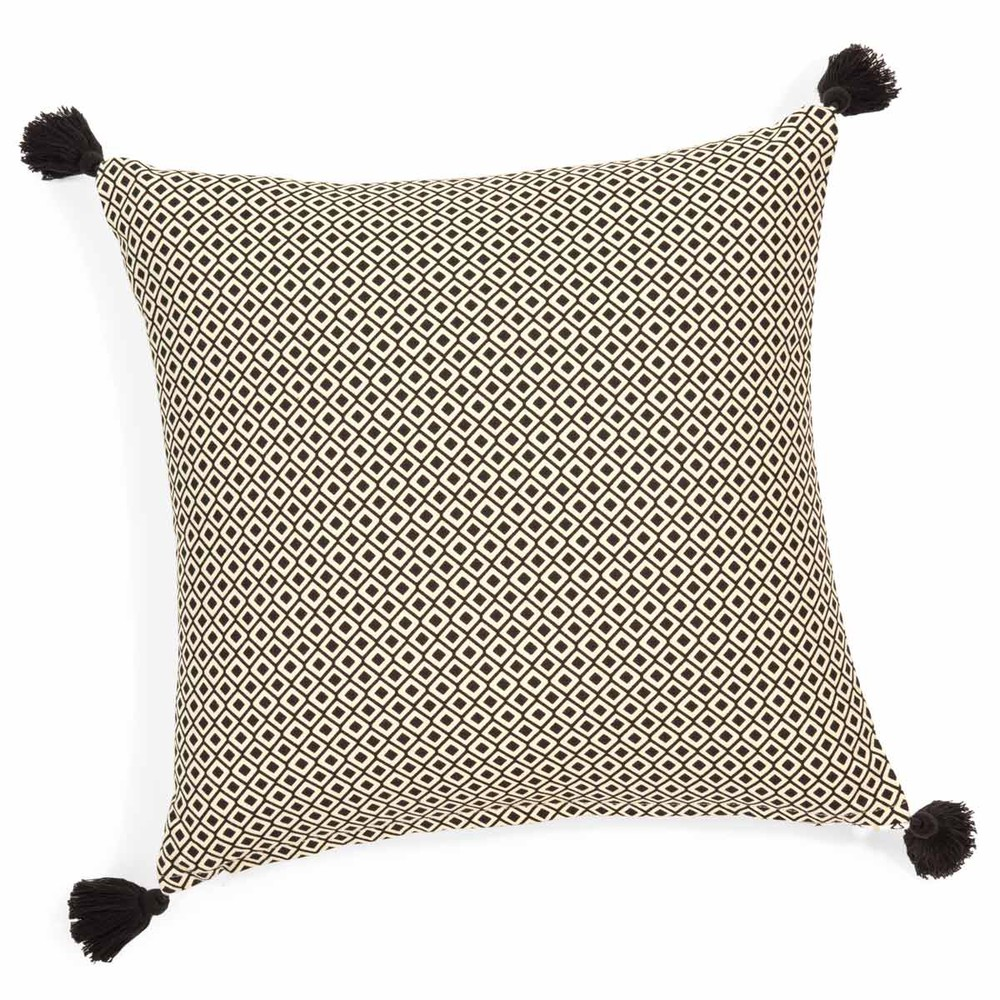 housse de coussin pompons en coton 40 x 40 cm ethnic maisons du monde. Black Bedroom Furniture Sets. Home Design Ideas
