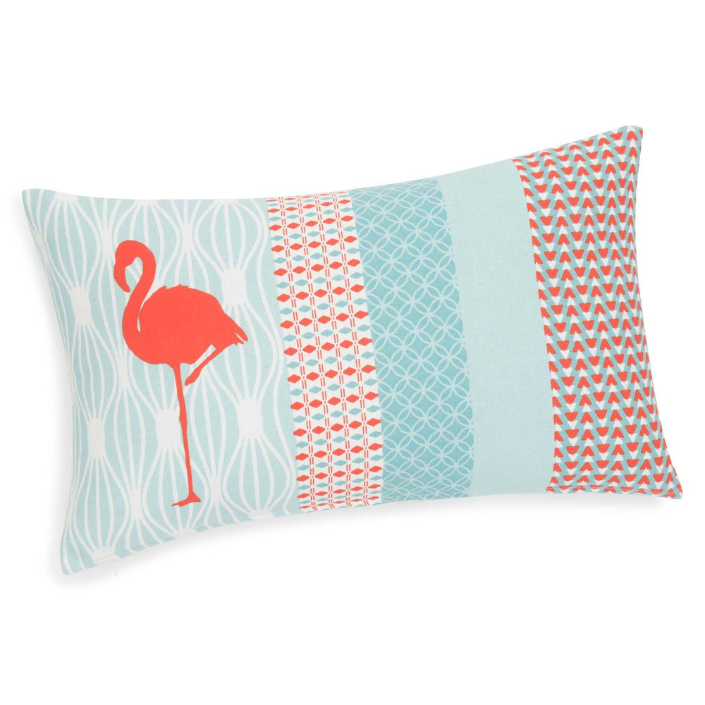 housse de coussin en coton 30 x 50 cm flamingo maisons du monde. Black Bedroom Furniture Sets. Home Design Ideas