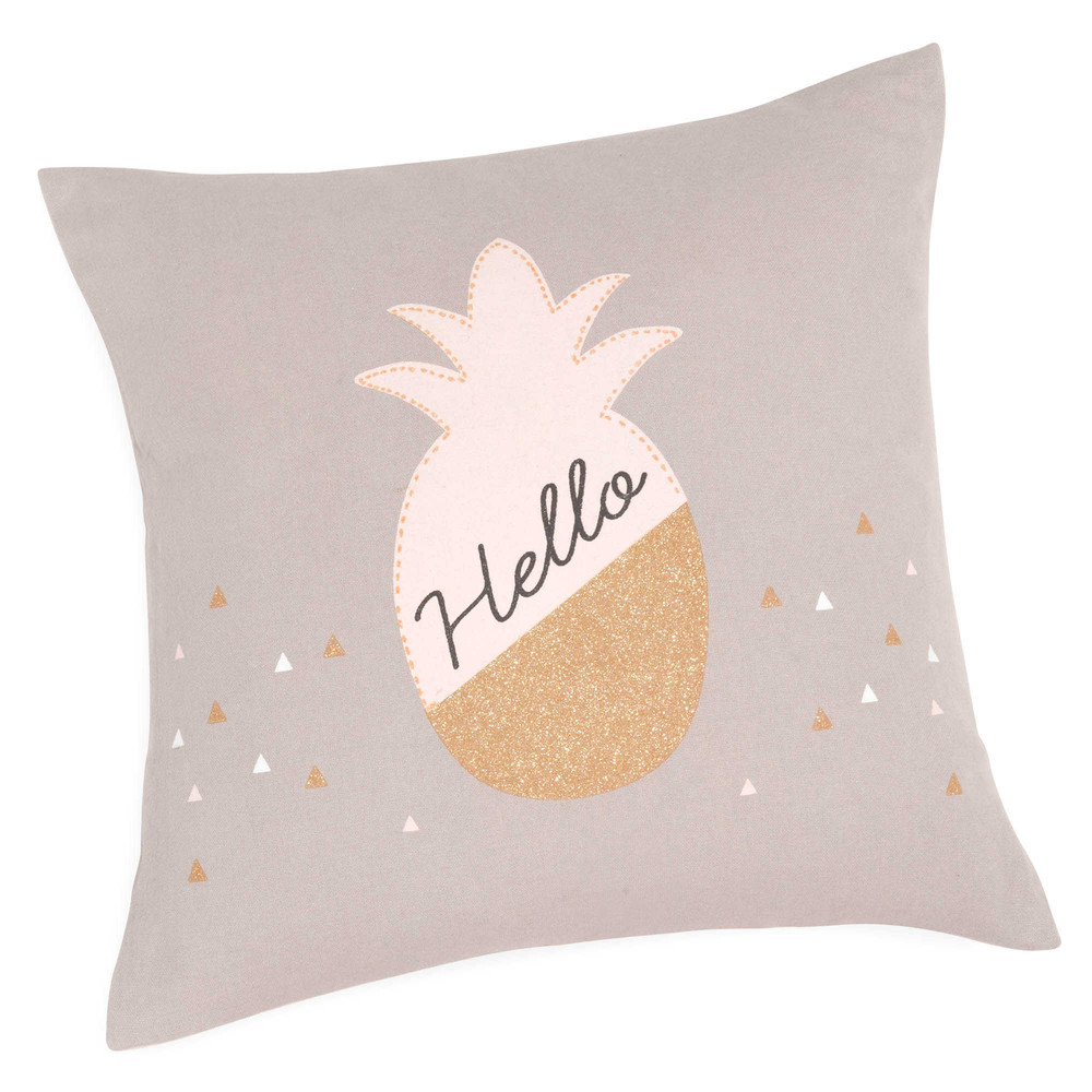 housse de coussin en coton 40 x 40 cm hello pineapple. Black Bedroom Furniture Sets. Home Design Ideas
