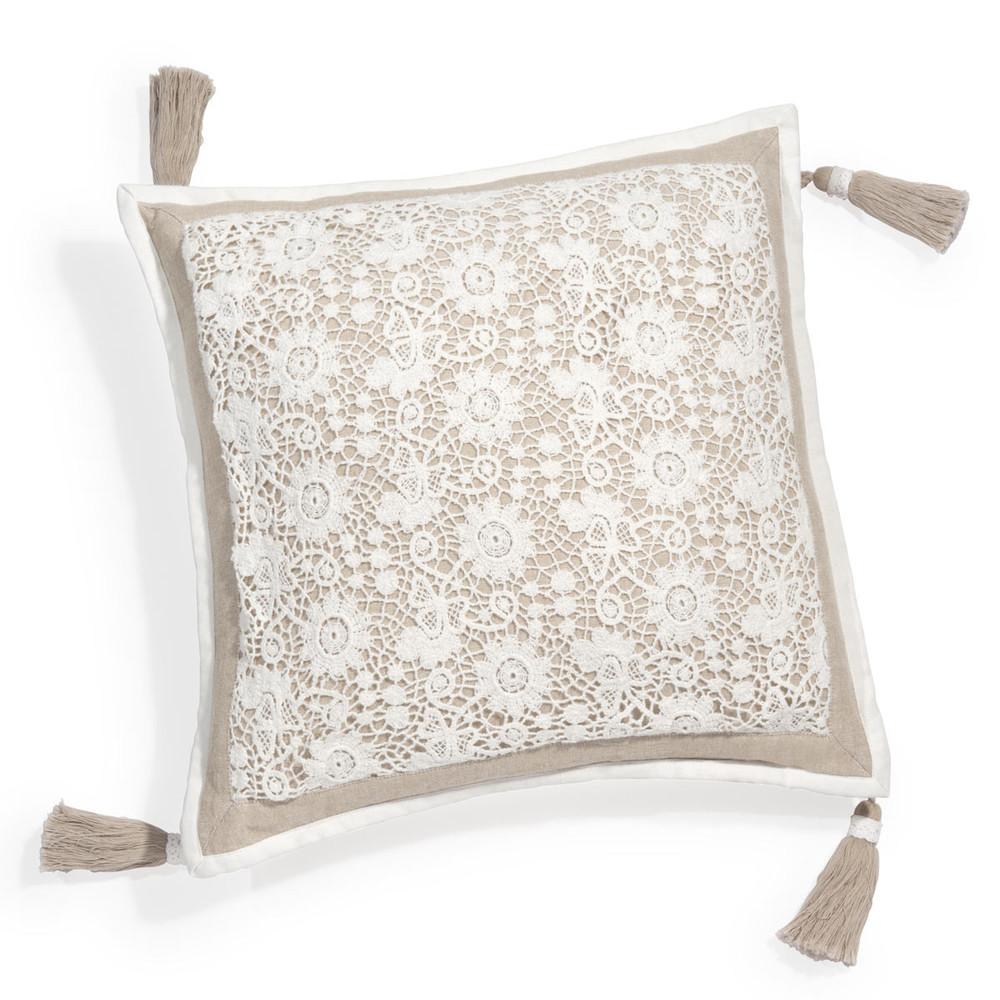 Housse de coussin en coton beige 40 x 40 cm wonderful maisons du monde - Housses de coussins ...