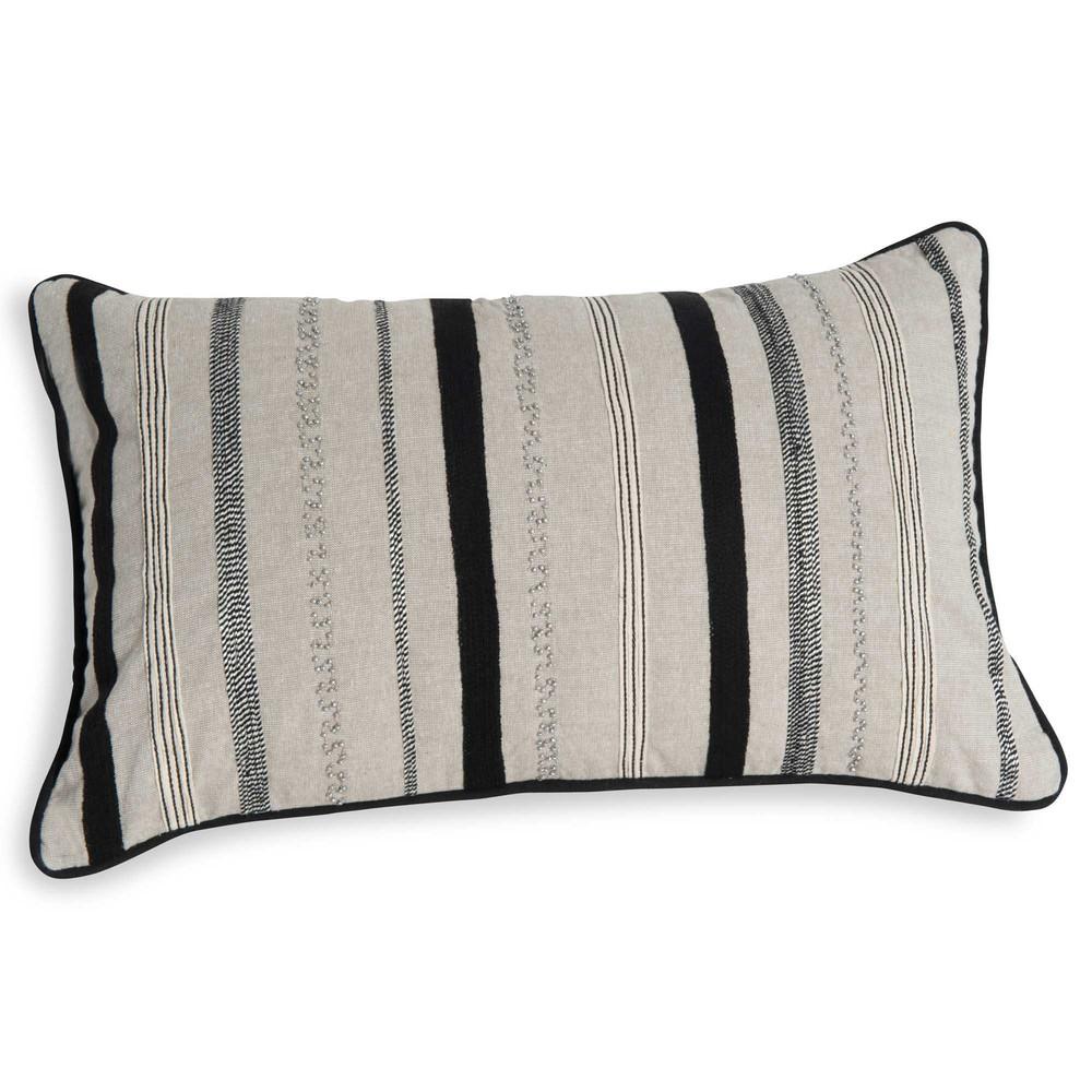housse de coussin en coton beige rayures 30 x 50 cm modica maisons du monde. Black Bedroom Furniture Sets. Home Design Ideas