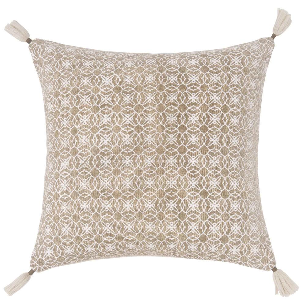 housse de coussin en coton beige motifs blancs 40x40. Black Bedroom Furniture Sets. Home Design Ideas