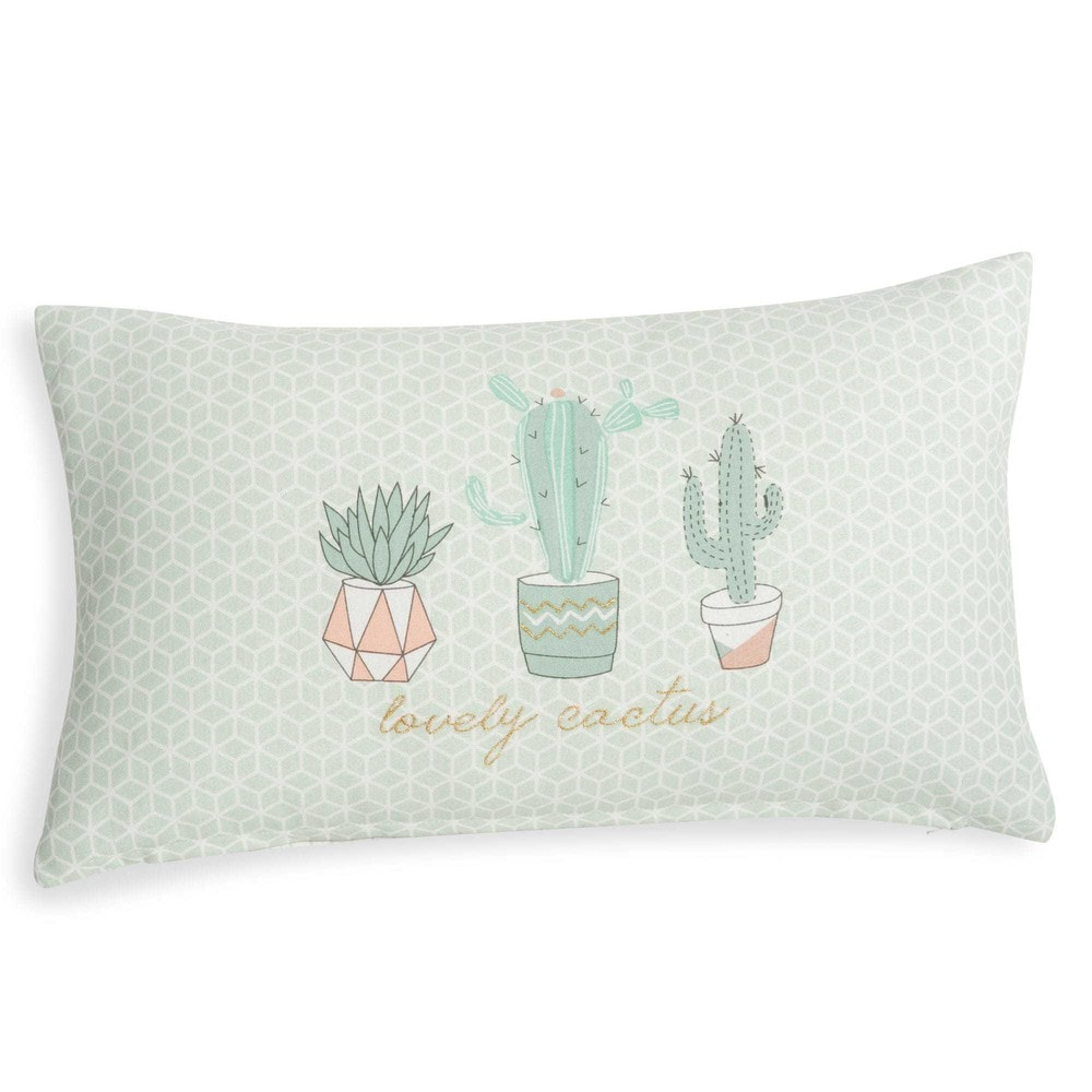 housse de coussin en coton blanc motifs 30x50cm cactus. Black Bedroom Furniture Sets. Home Design Ideas