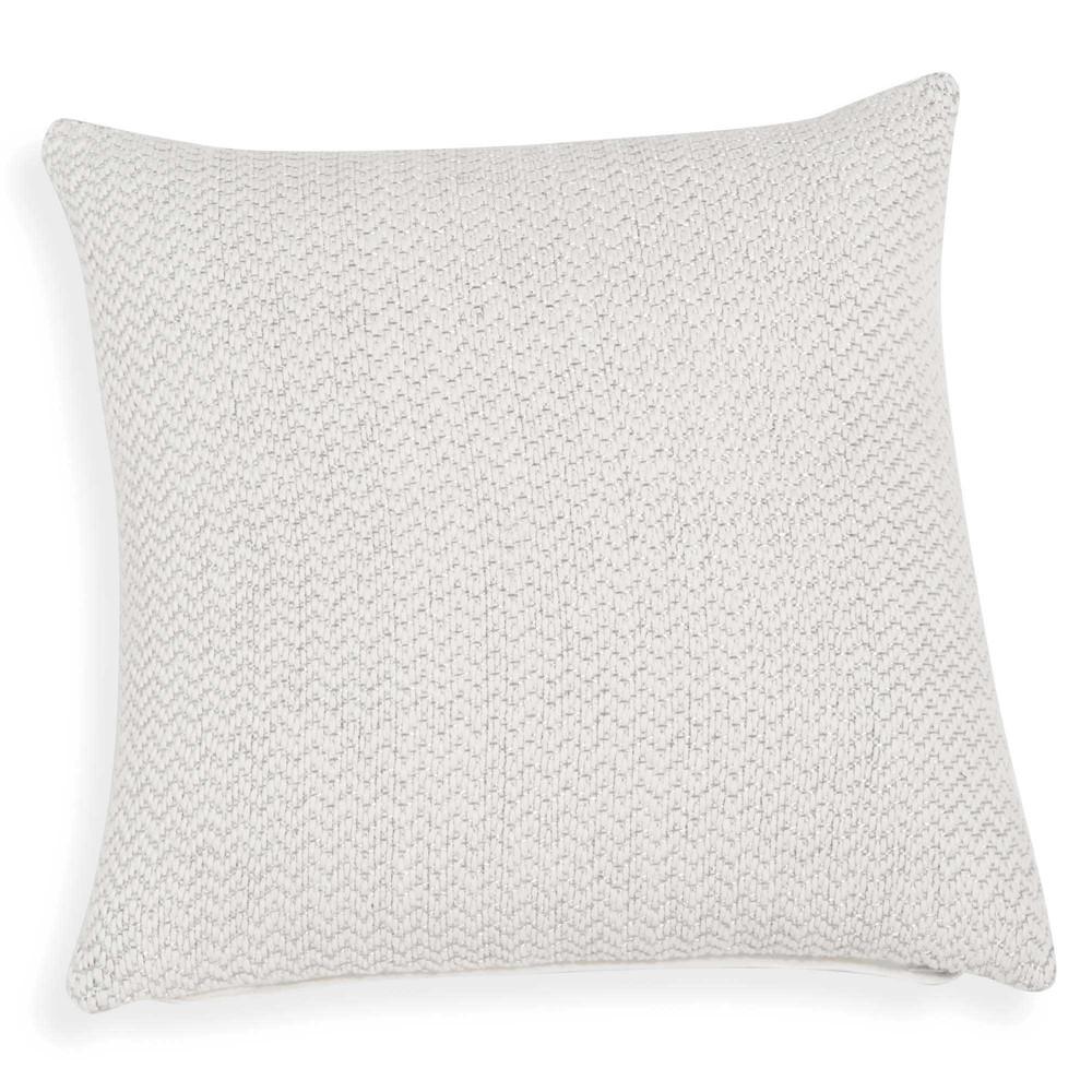 Housse de coussin en coton blanc et fil argent 40x40cm for Housse de coussin argente