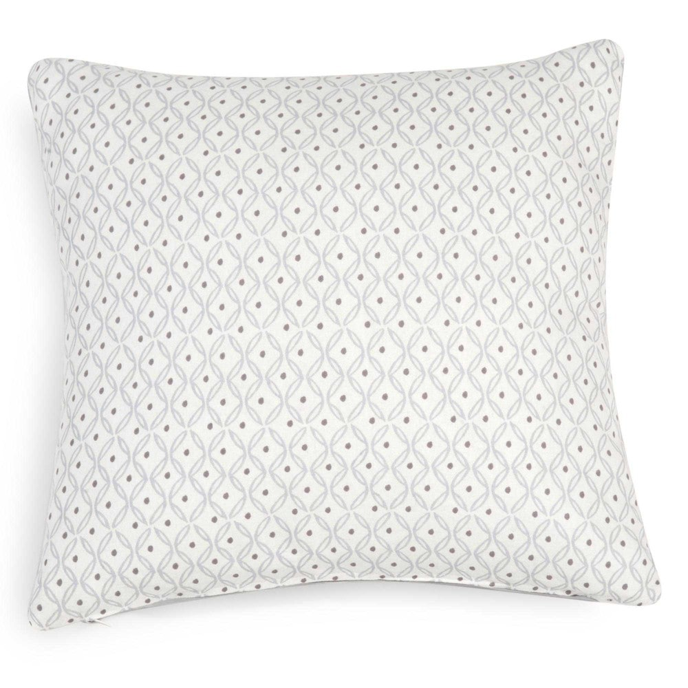 housse de coussin en coton blanc motifs gris 40x40cm royan maisons du monde. Black Bedroom Furniture Sets. Home Design Ideas