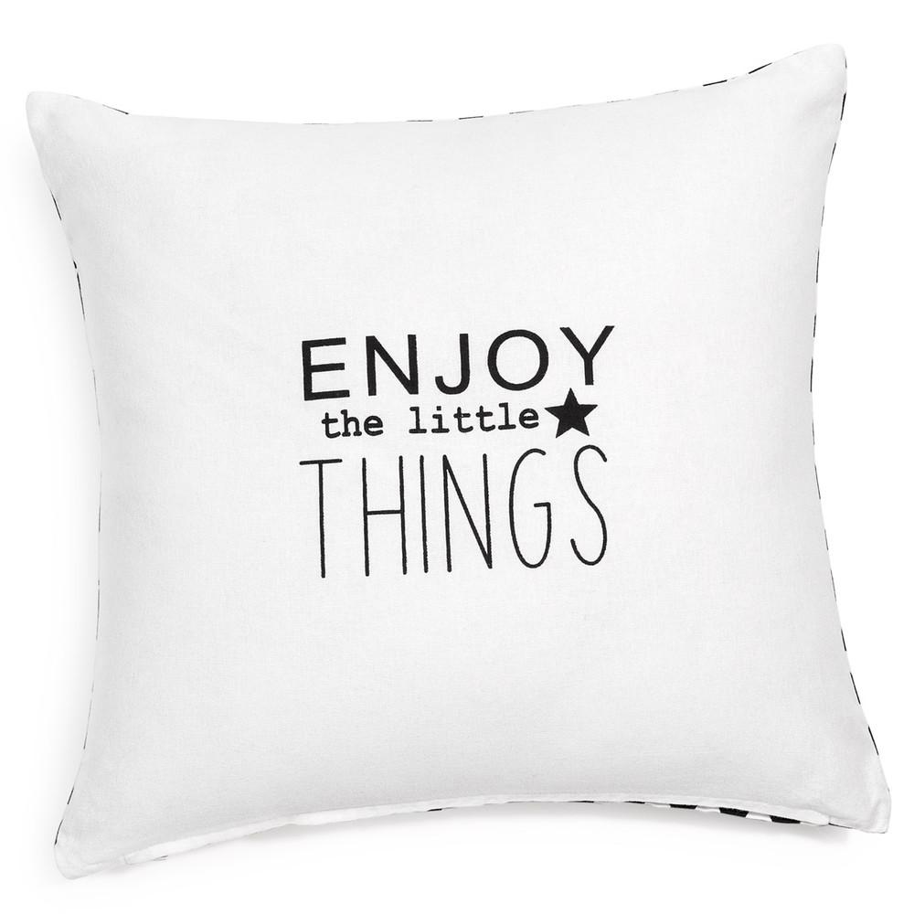 Housse de coussin en coton blanche 40 x 40 cm enjoy things - Housse de coussin style campagne ...