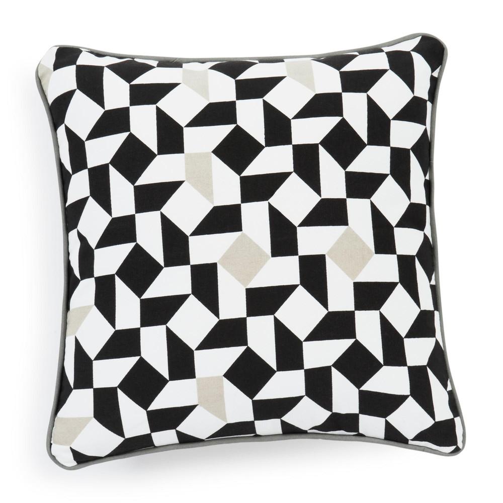 Housse de coussin en coton blanche noire 40 x 40 cm eme for Housse coussin 40 x 40