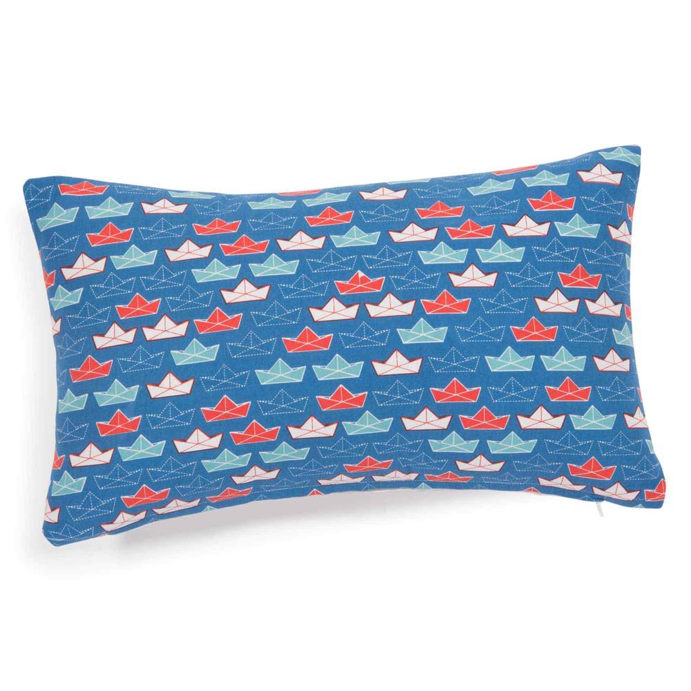 Housse de coussin en coton bleu 30 x 50 cm bateau - Housse de coussin 30 x 50 ...