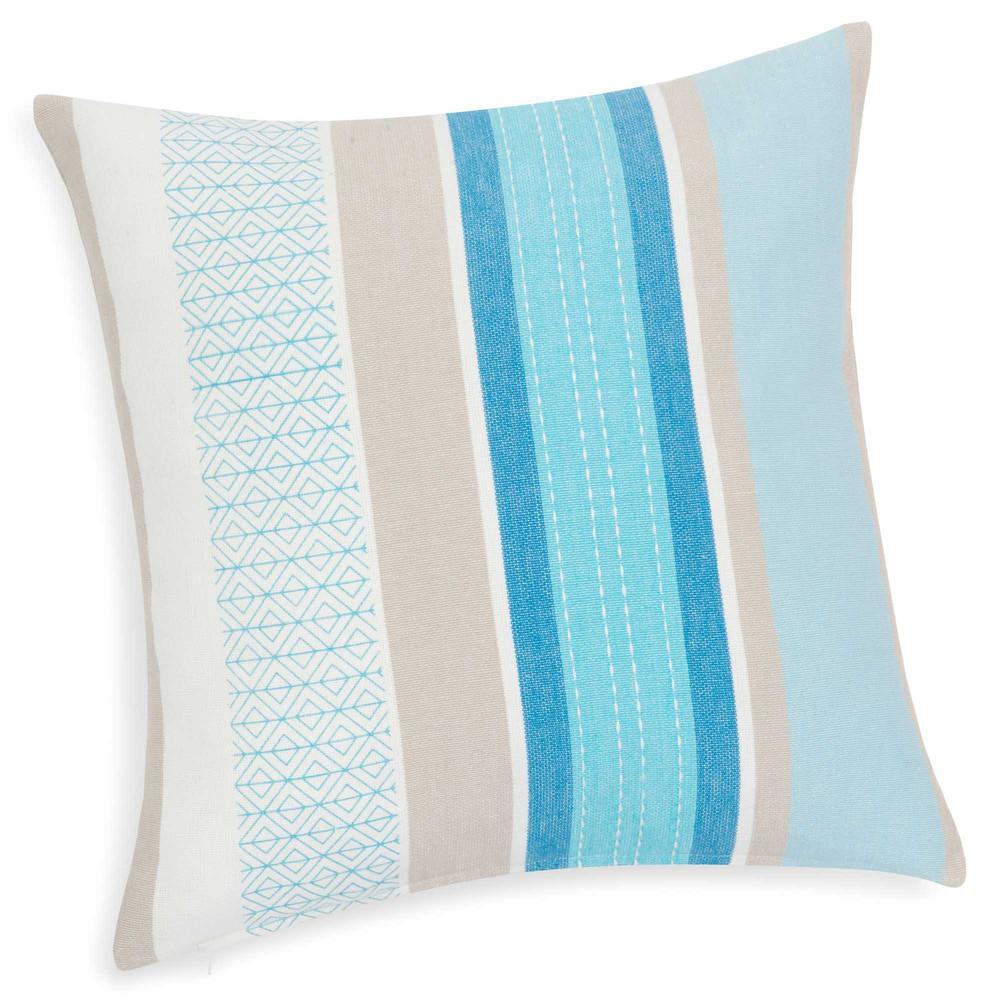 Housse de coussin en coton bleu 40 x 40 cm croisi re for Housse de coussin 40 40