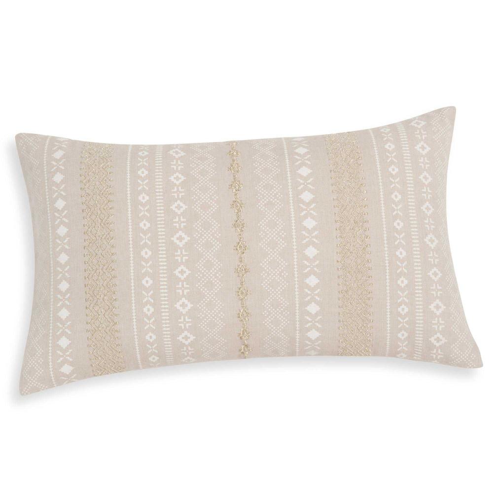 housse de coussin en coton brod beige 30x50cm serenity maisons du monde. Black Bedroom Furniture Sets. Home Design Ideas