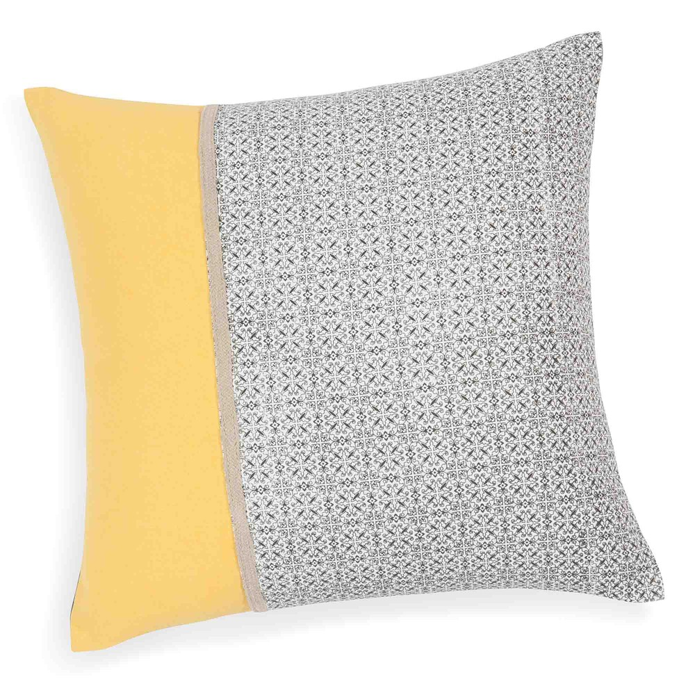housse de coussin en coton grise jaune 40 x 40 cm vizela maisons du monde. Black Bedroom Furniture Sets. Home Design Ideas