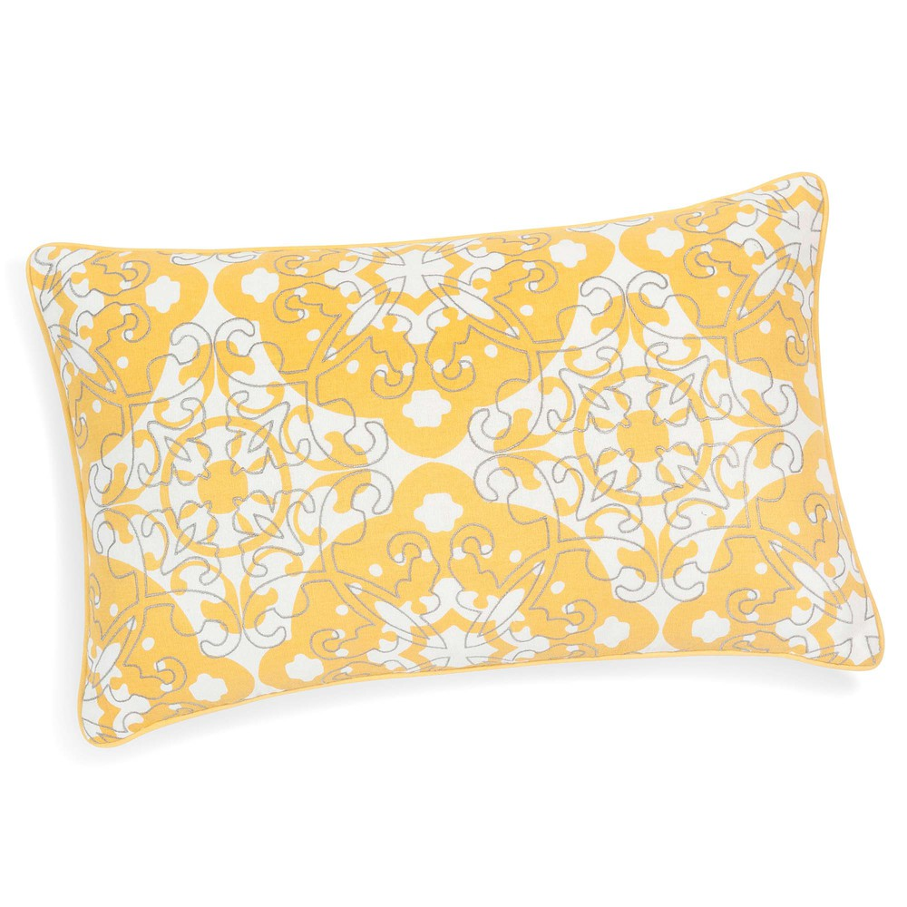 housse de coussin en coton jaune 30 x 50 cm belem maisons du monde. Black Bedroom Furniture Sets. Home Design Ideas