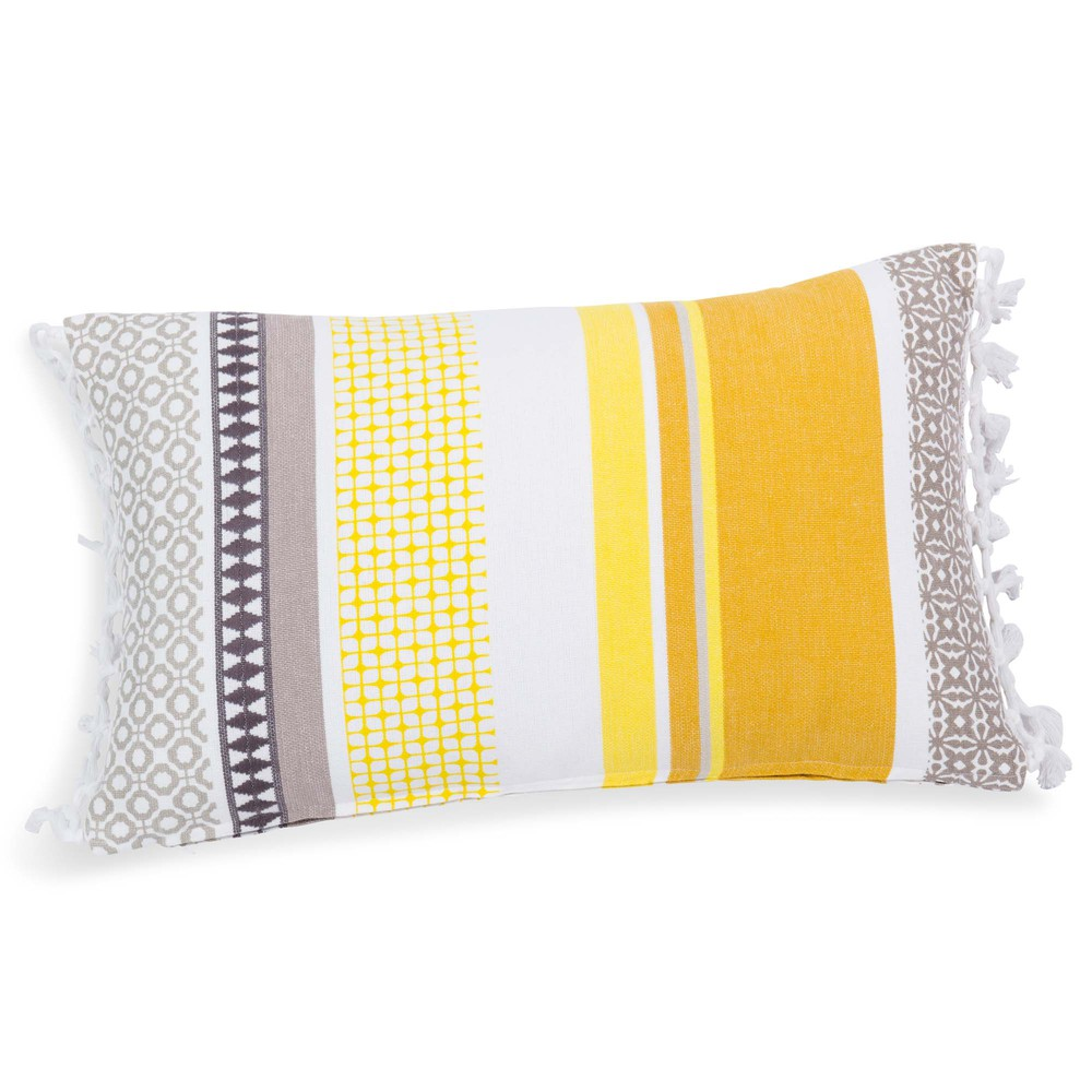 housse de coussin en coton jaune 30 x 50 cm porto maisons du monde. Black Bedroom Furniture Sets. Home Design Ideas