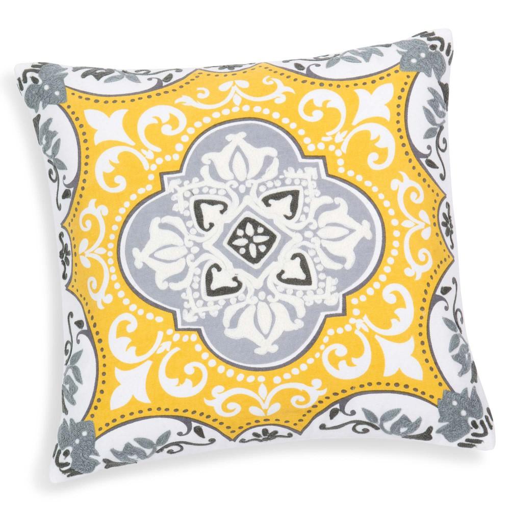 housse de coussin en coton jaune 40 x 40 cm pietra maisons du monde. Black Bedroom Furniture Sets. Home Design Ideas