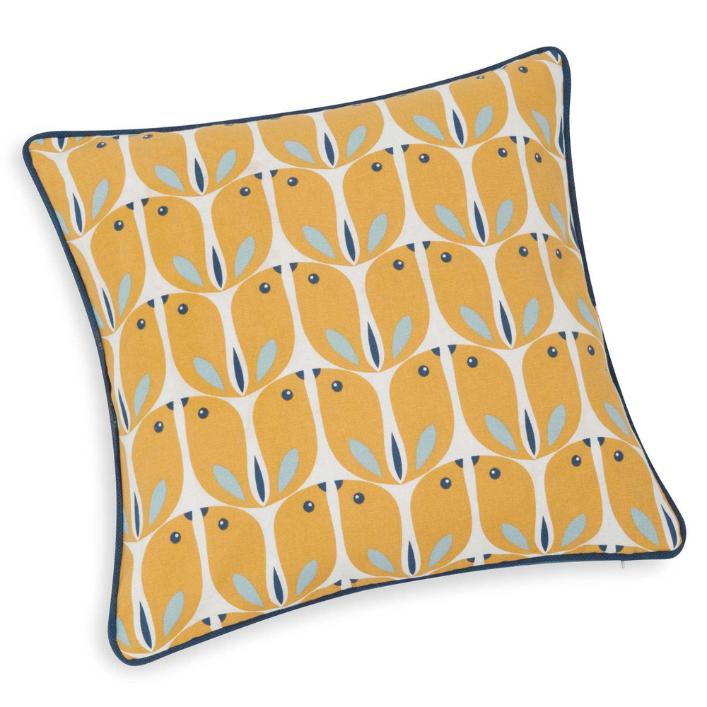 housse de coussin en coton jaune 40 x 40 cm woodpecker maisons du monde. Black Bedroom Furniture Sets. Home Design Ideas