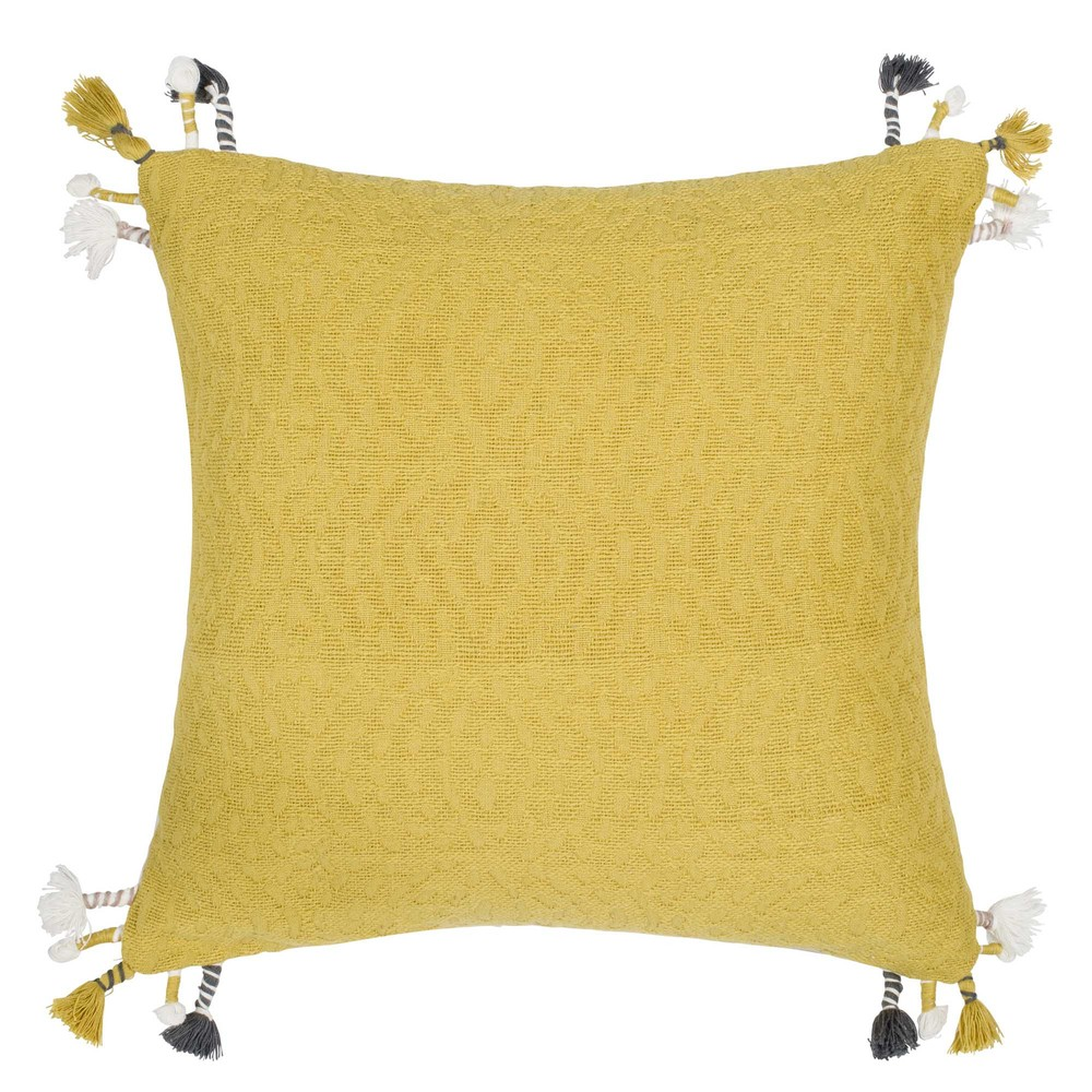 housse de coussin en coton jaune 40x40 maisons du monde. Black Bedroom Furniture Sets. Home Design Ideas