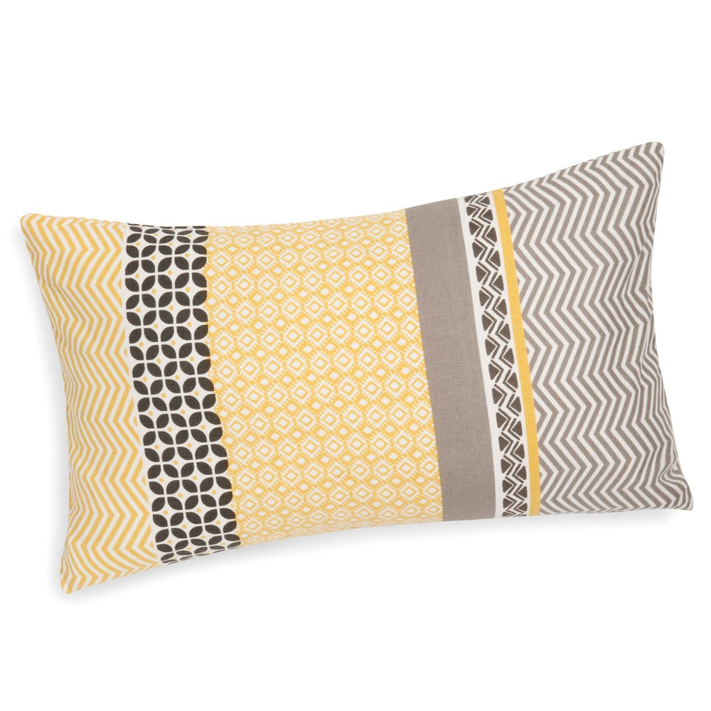 housse de coussin en coton jaune grise 30 x 50 cm sunny maisons du monde. Black Bedroom Furniture Sets. Home Design Ideas