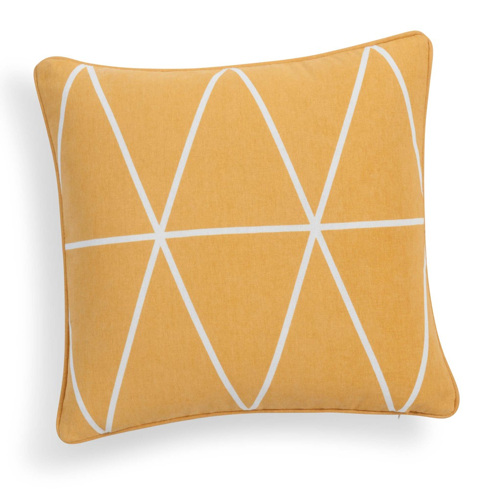 Housse de coussin en coton jaune moutarde 40 x 40 cm steve for Housse de coussin 40 x 40