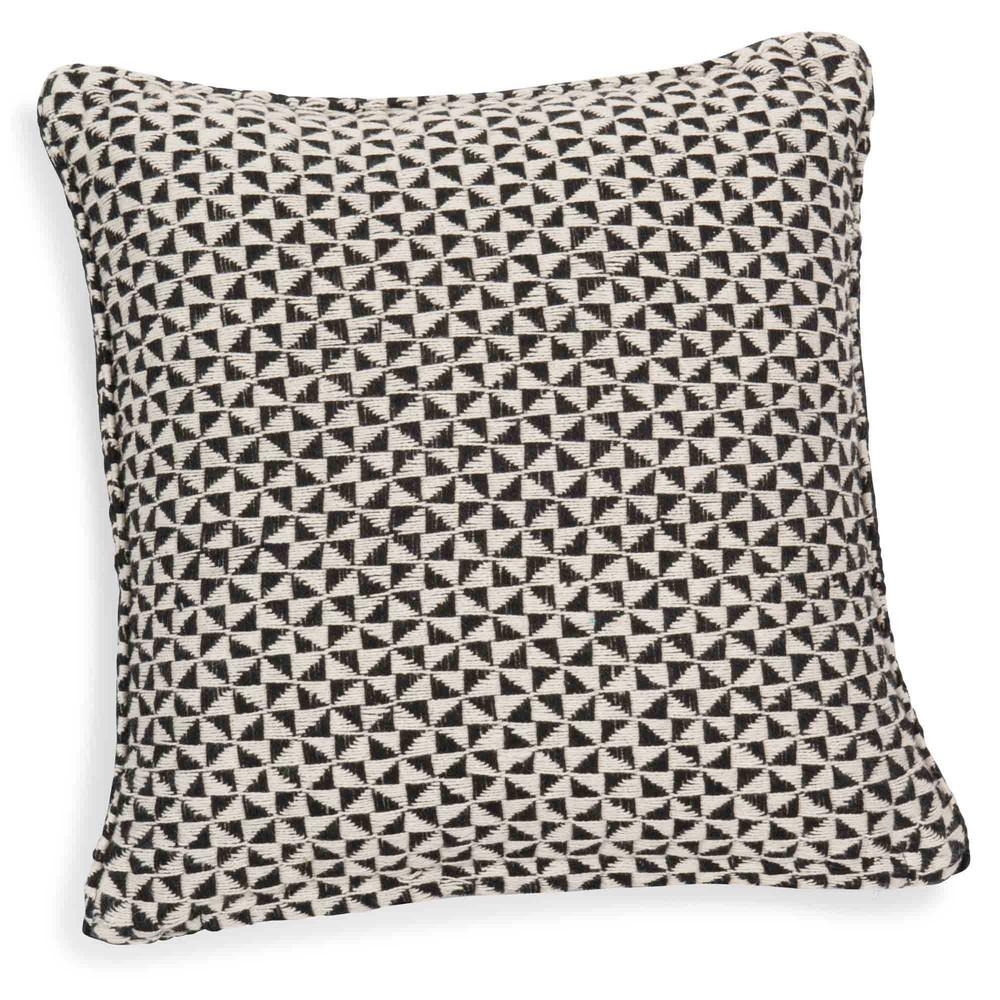 Housse de coussin en coton noir blanc 40 x 40 cm makassar - Housse de coussin blanc ...