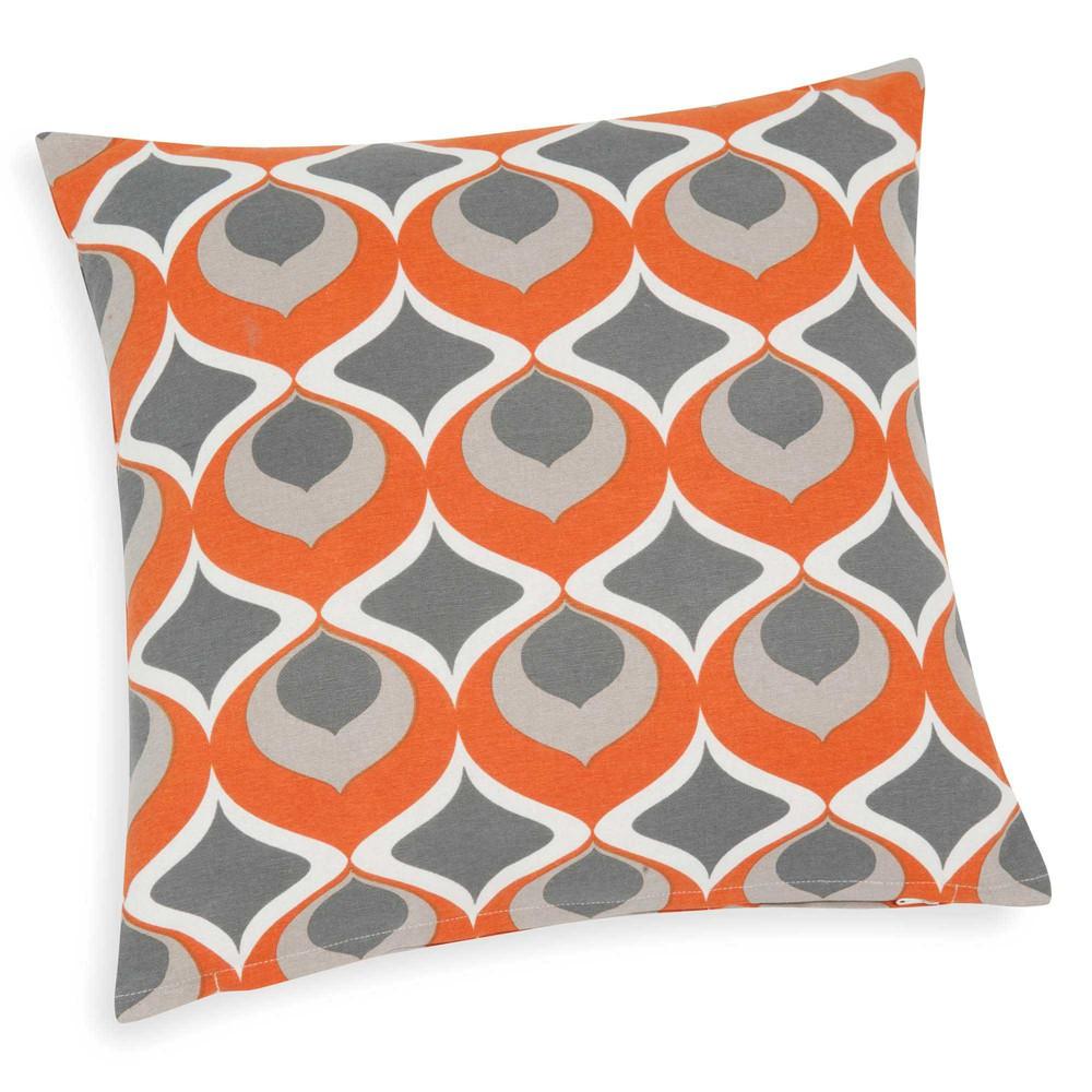 housse de coussin en coton orange 40 x 40 cm nollan. Black Bedroom Furniture Sets. Home Design Ideas