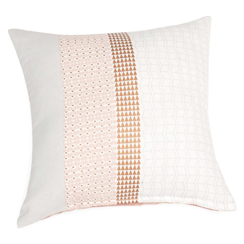 housse de coussin en coton rose blanc 40 x 40 cm isalia maisons du monde. Black Bedroom Furniture Sets. Home Design Ideas