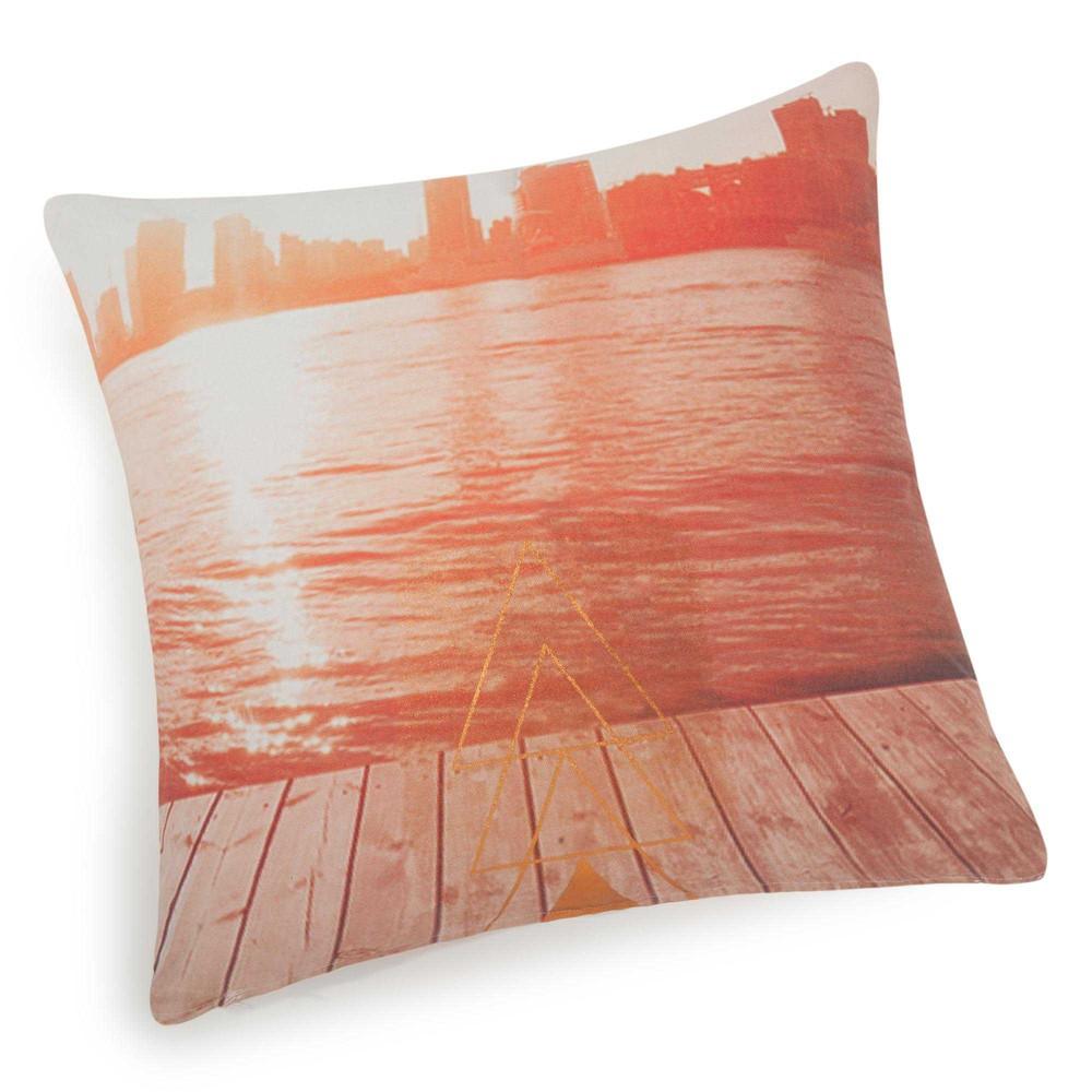 housse de coussin en coton rose cuivr 40 x 40 cm times maisons du monde. Black Bedroom Furniture Sets. Home Design Ideas