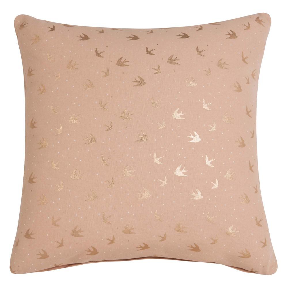 housse de coussin en coton rose motifs dor s 40x40 maisons du monde. Black Bedroom Furniture Sets. Home Design Ideas