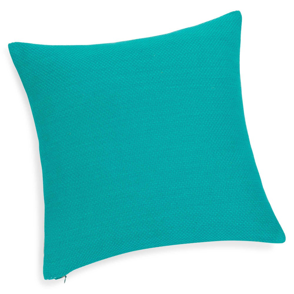 Housse de coussin en coton turquoise 40 x 40 cm wenda for Housse de coussin 40 40