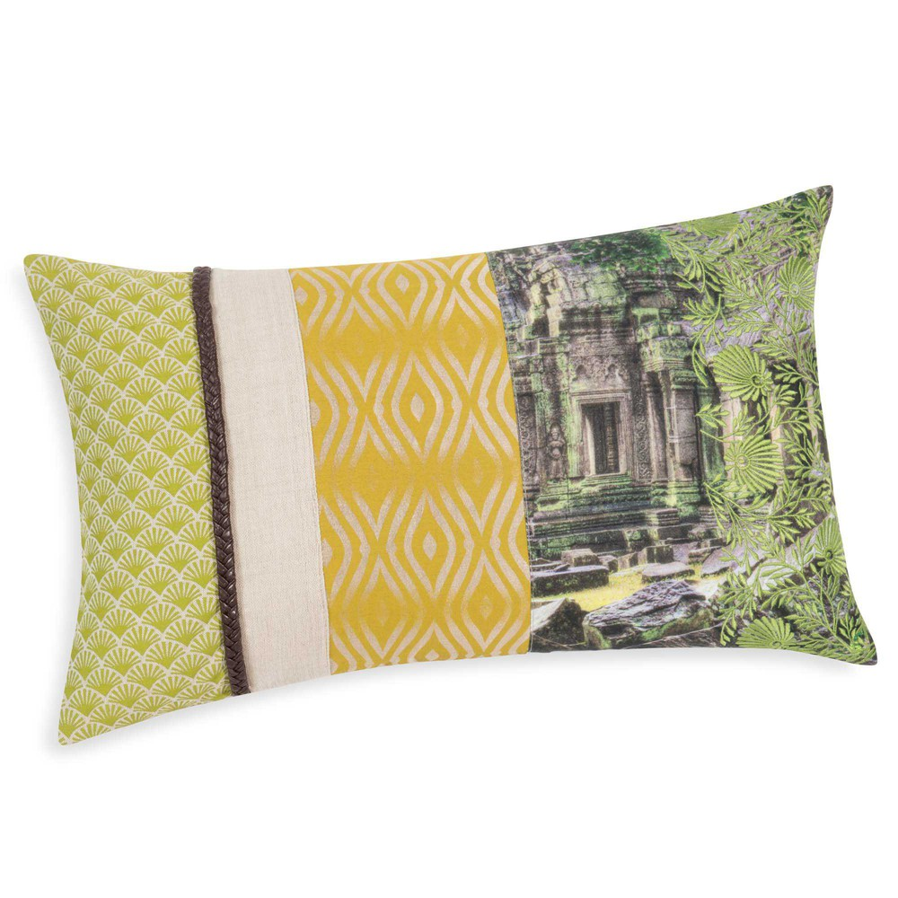 housse de coussin en coton vert 30 x 50 cm angkor maisons du monde. Black Bedroom Furniture Sets. Home Design Ideas