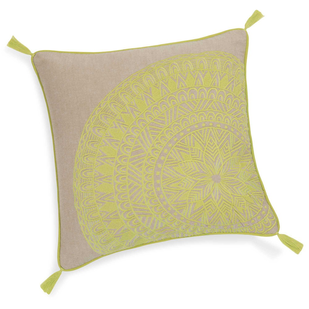 Housse de coussin en coton vert 40 x 40 cm solarium for Housse de coussin 40 x 40