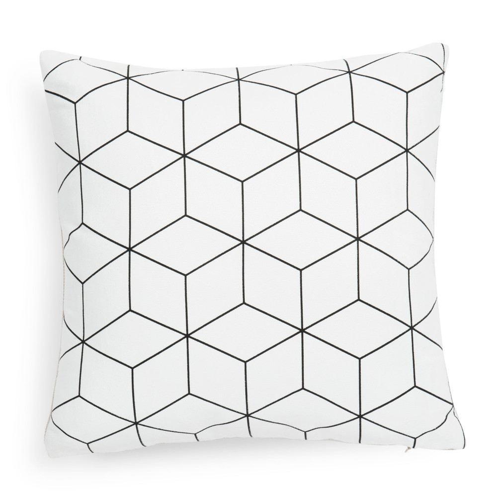 housse de coussin en tissu blanche 40 x 40 cm cubo maisons du monde. Black Bedroom Furniture Sets. Home Design Ideas