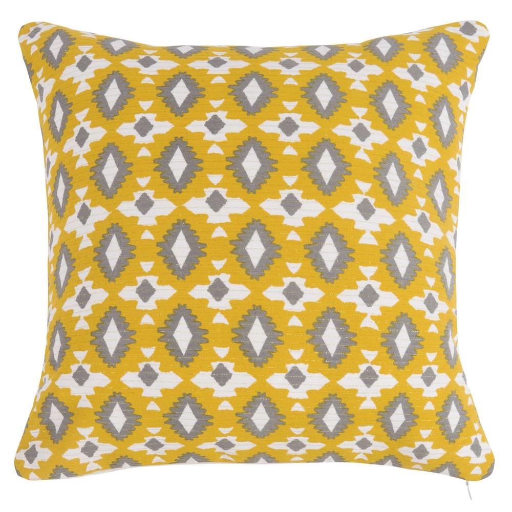 Housse de coussin en tissu jaune motifs ikat 40x40 for Housse de coussin 40x40