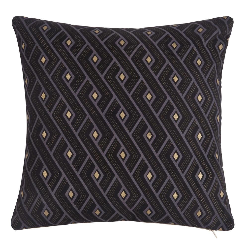 Housse de coussin en tissu noir motifs 40x40 maisons for Housse de coussin noir