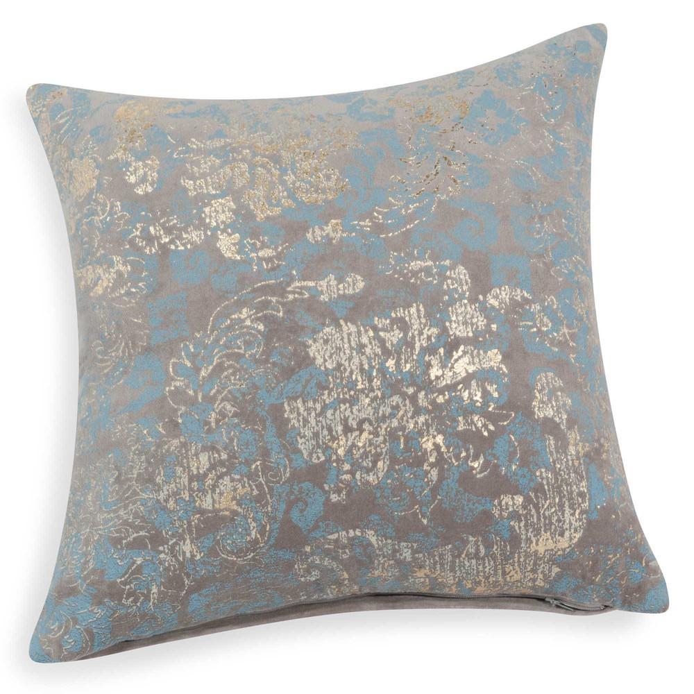 Housse de coussin en velours bleu dor 40 x 40 cm fouquet - Housse coussin velours ...