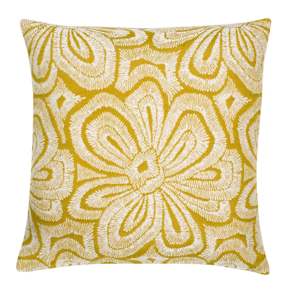housse de coussin jaune motifs blancs 40x40cm andria maisons du monde. Black Bedroom Furniture Sets. Home Design Ideas