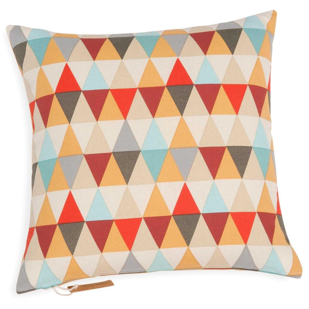 housse de coussin motif triangles en coton 40 x 40 cm. Black Bedroom Furniture Sets. Home Design Ideas