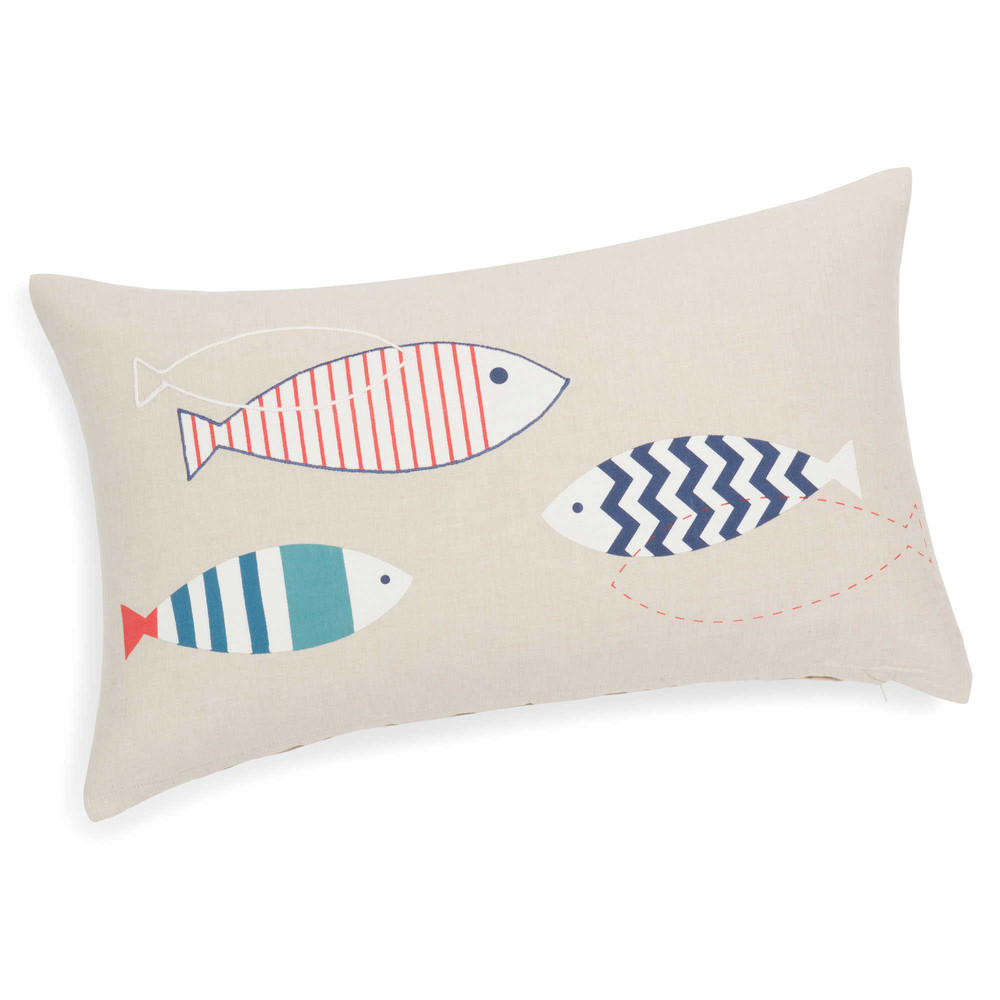 housse de coussin poissons en coton 30 x 50 cm mare maisons du monde. Black Bedroom Furniture Sets. Home Design Ideas