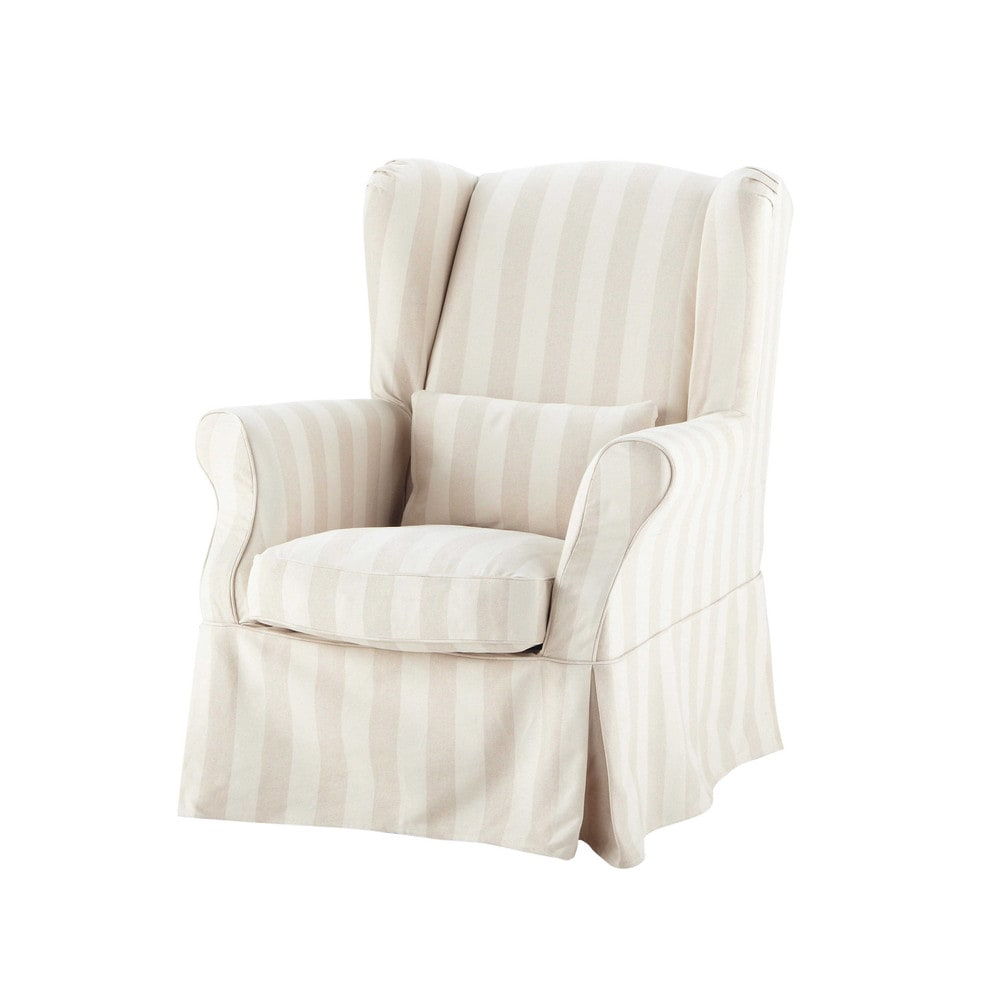 housse de fauteuil rayures en coton beige cottage maisons du monde. Black Bedroom Furniture Sets. Home Design Ideas
