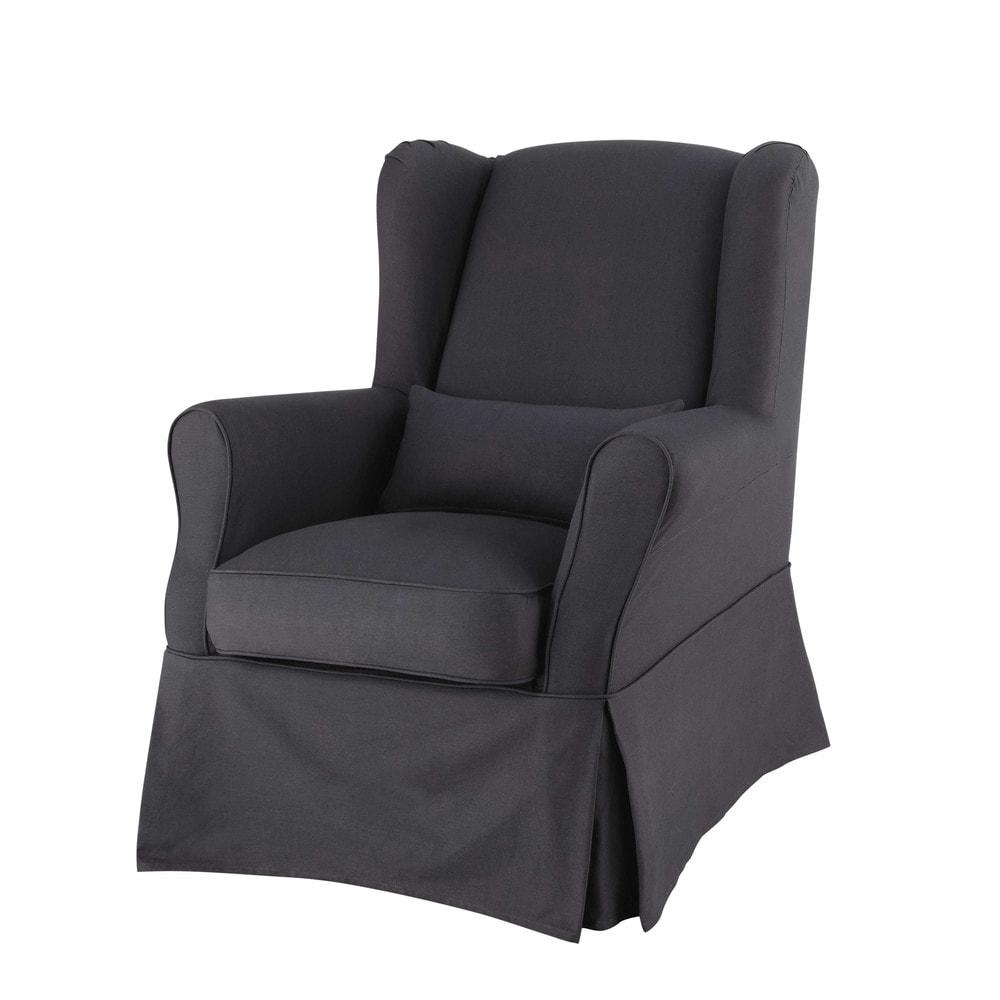 Housse de fauteuil en coton anthracite cottage maisons for Fauteuil housse