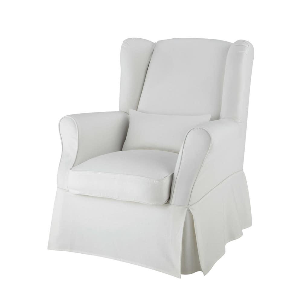 Housse de fauteuil en coton ivoire cottage maisons du monde for Housse fauteuil 3 suisses