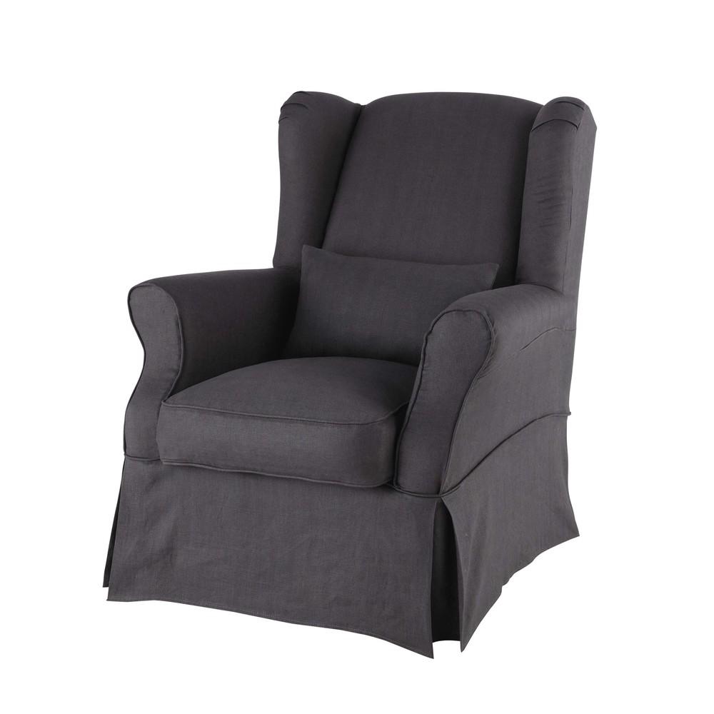 Housse de fauteuil en lin anthracite cottage maisons du - Housse de chaise en lin ...