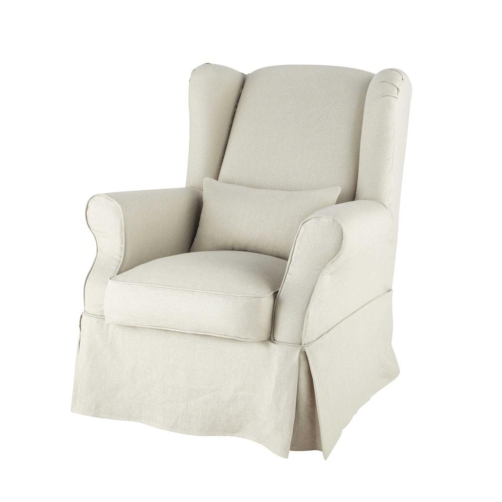 Housse de fauteuil en lin cottage maisons du monde for Housse fauteuil a oreilles