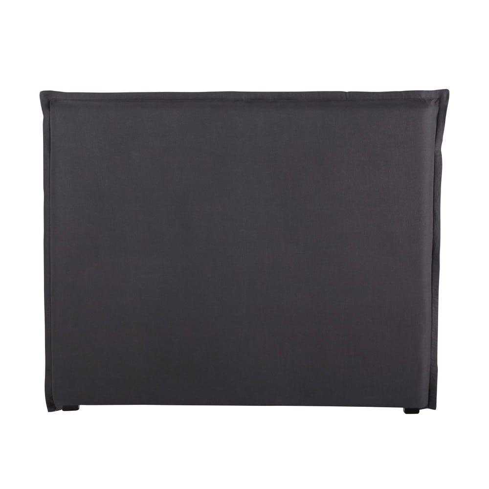housse de t te de lit 140 en lin lav anthracite morphee. Black Bedroom Furniture Sets. Home Design Ideas