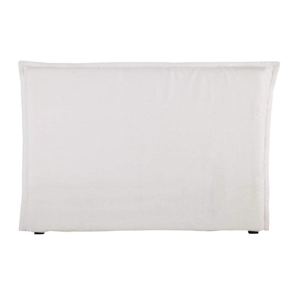 housse de t te de lit 160 en lin lav blanche morphee. Black Bedroom Furniture Sets. Home Design Ideas