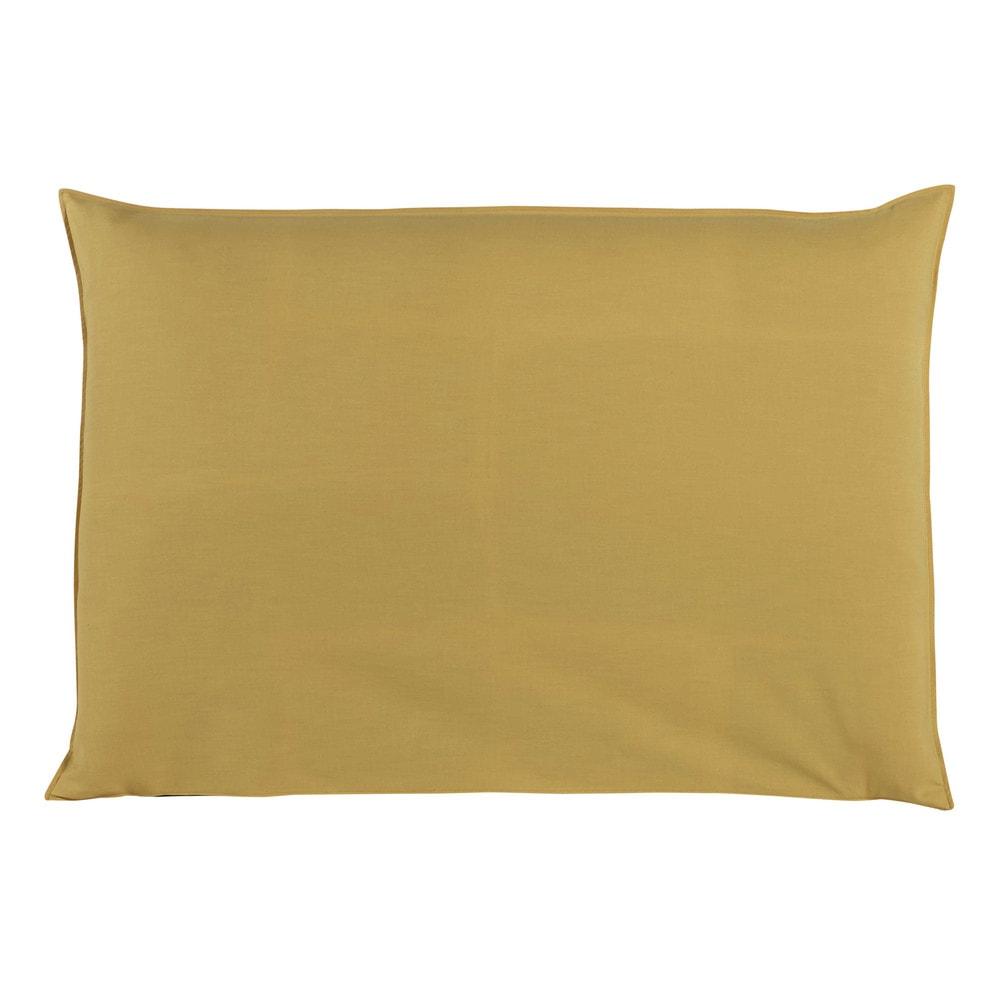 Housse de t te de lit 160 jaune moutarde soft maisons du for Housse pour tete de lit