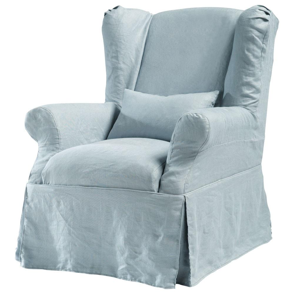 housse lin bleu gris cottage maisons du monde. Black Bedroom Furniture Sets. Home Design Ideas