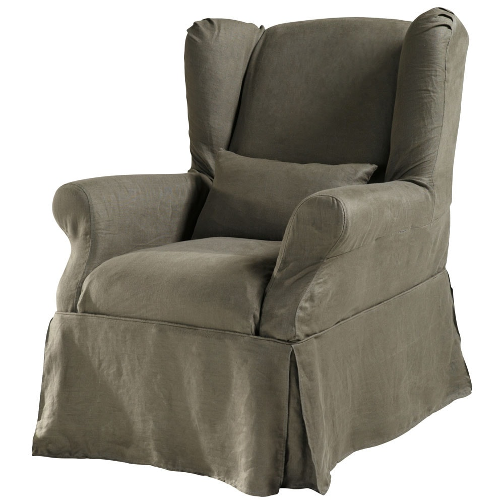housse lin marron glac cottage maisons du monde. Black Bedroom Furniture Sets. Home Design Ideas