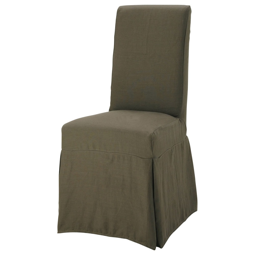 Housse lin marron glac margaux maisons du monde - Housse chaise maison du monde ...