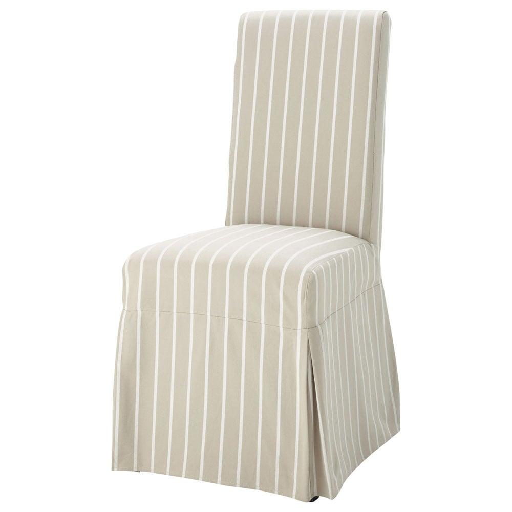 housse longue de chaise rayures en coton beige margaux. Black Bedroom Furniture Sets. Home Design Ideas
